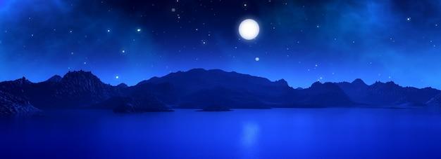 3dワイドスクリーンは、夜に月とシュールな風景のレンダリング 無料写真