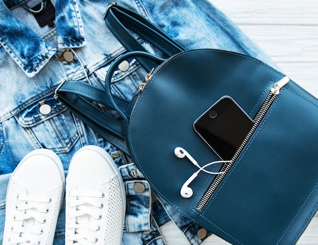Blue leather backpack Premium Photo