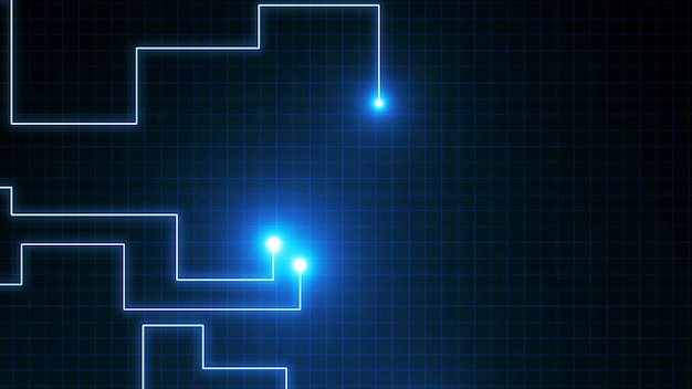 Blue lines drawn by bright spots . it may represent electronic connections, communication, futuristic technology. Premium Photo