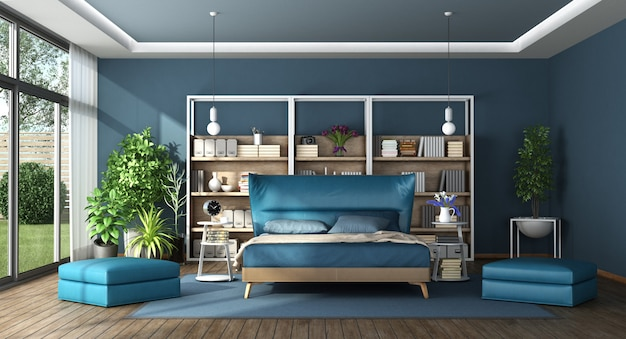 Blue master bedroom in a modern villa Premium Photo