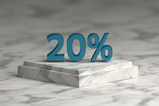 Blue metallic shiny 20 percent sign text. sale 20 % numbers over marble pedestal. Premium Photo