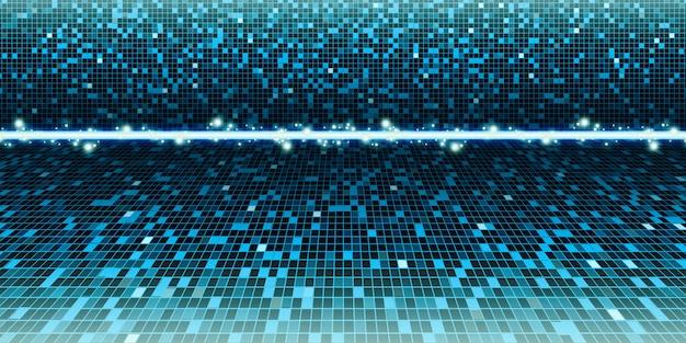青混合緑の背景正方形のぼかし、正方形、抽象的なぼかしモザイク、科学、ビジネス、または技術の3dイラスト Premium写真
