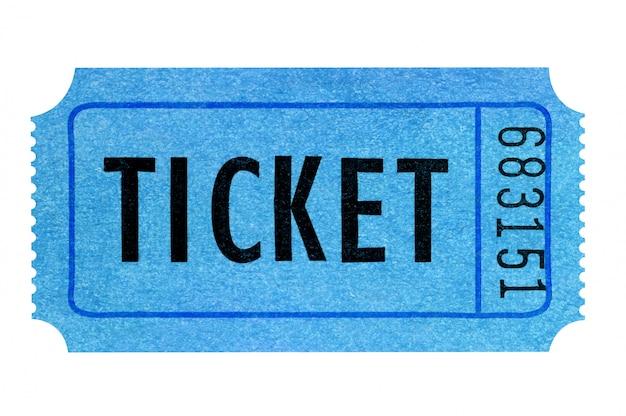 Синий билет в кино на белом Premium Фотографии
