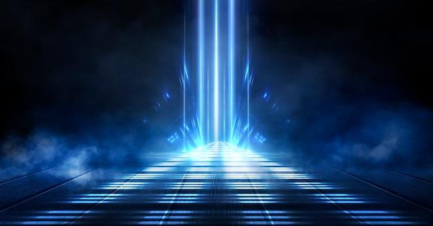 Синий неоновый темный фон Premium Фотографии