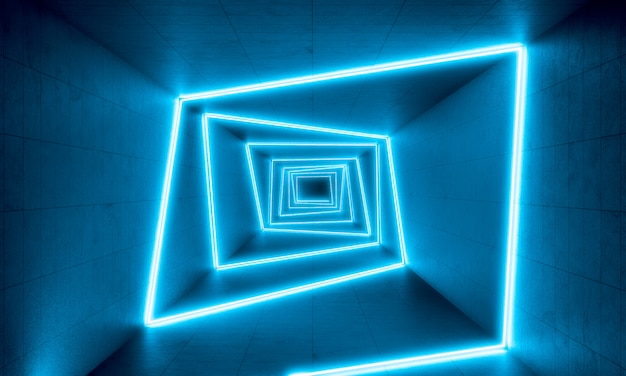 Blue neon lights  background Premium Photo