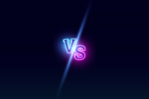 Blue neon versus logo Premium Photo