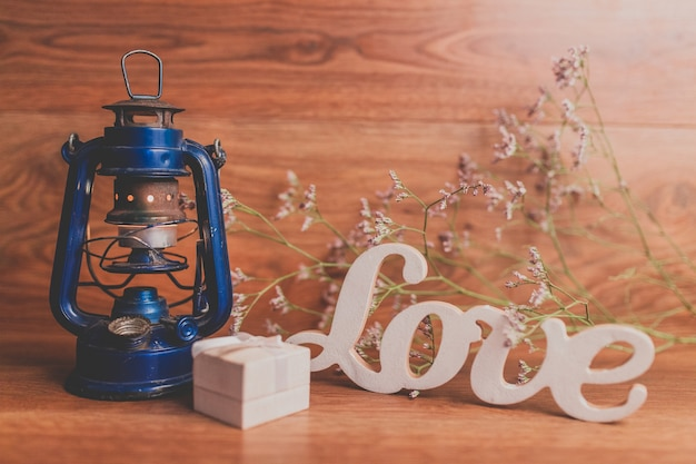 Blue Oil Lamp Gift Box And Quot Love Quot Letters Photo Free