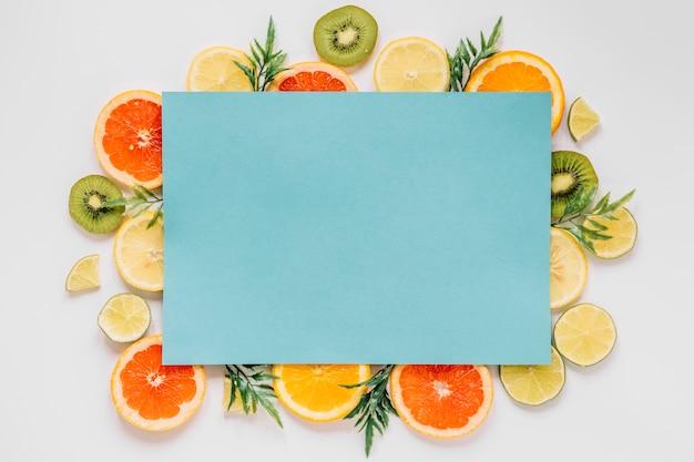 Blue paper sheet of fruits Free Photo