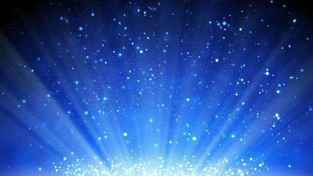 Blue particles glitter background Premium Photo