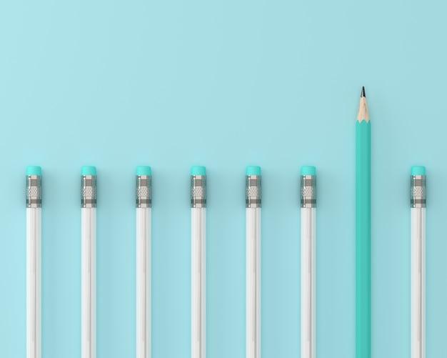 Blue pencil and white pencil on blue pastel background Premium Photo