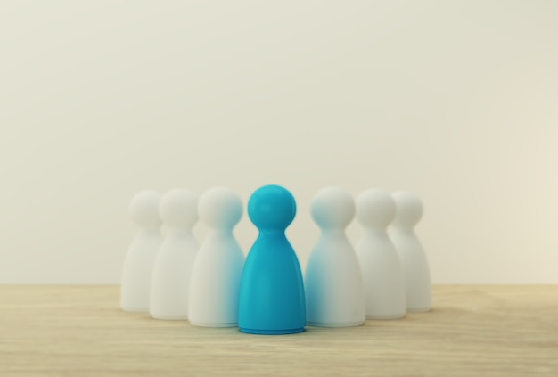 Blue people model outstanding out from the crowd. human resource, talent management, recruitment employee, successful business team leader concept. Premium Photo