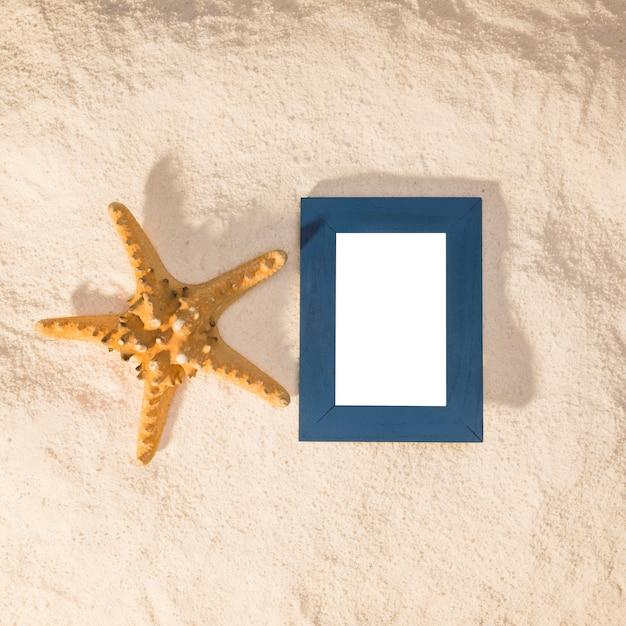 Blue photo frame and big starfish Free Photo