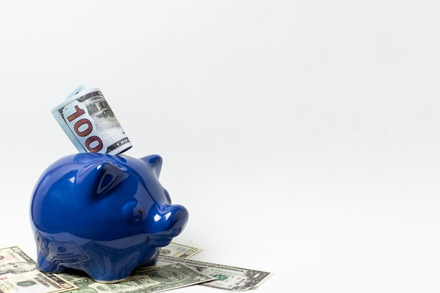 Blue piggy bank with copy space white background Free Photo
