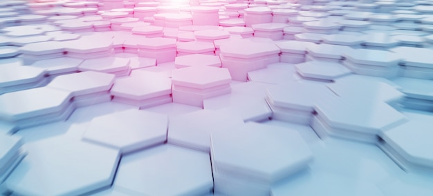 Blue and pink hexagons background pattern Premium Photo