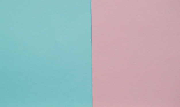 Blue and pink pastel color paper geometric flat lay two backgrounds side by side Premium Photo