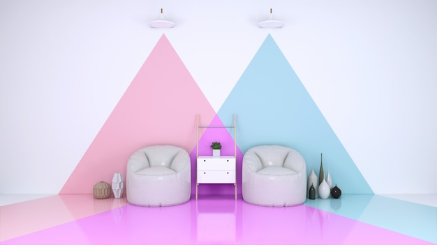 Blue and pink room Premium Photo