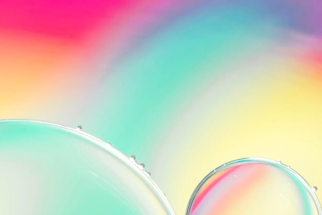 Blue pink and yellow abstract background with bubbles Free Photo