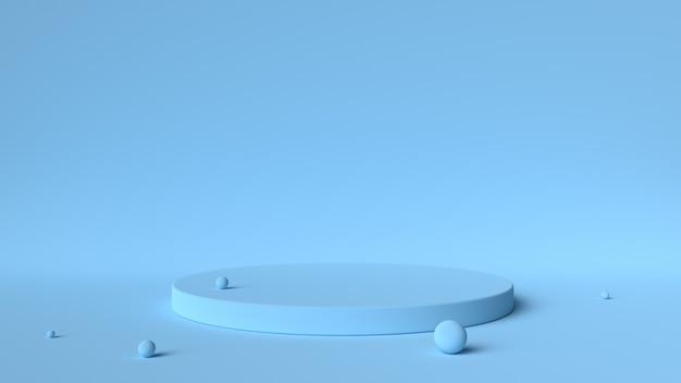Blue platform and balls isolated Premium Photo
