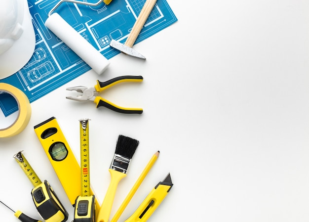Blue print and tools with copy space Premium Photo