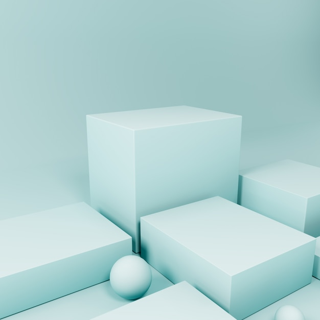 Blue product display podium ,abstract  background Premium Photo