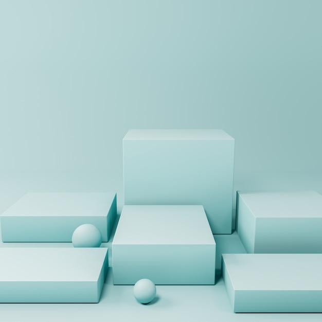 Blue product display podium Premium Photo