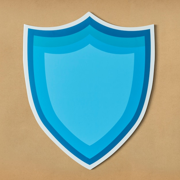 Blue protection shield icon isolated Free Photo