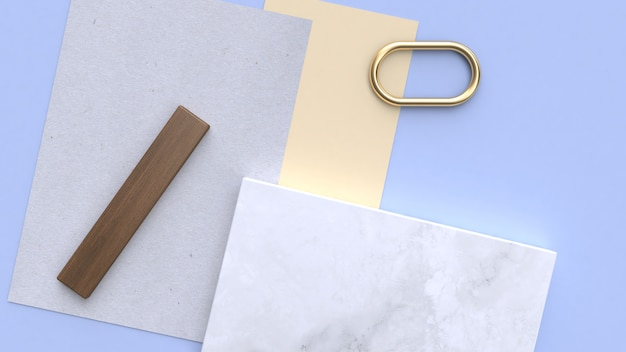 Blue-purple-blue minimal geometric shape 3d rendering flay lay paper Premium Photo