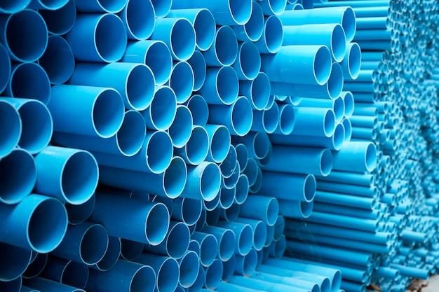 Blue pvc pipes stacked Premium Photo
