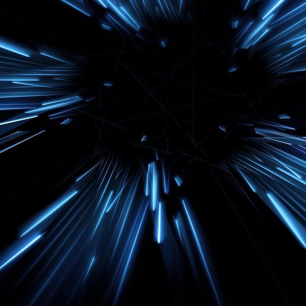 Голубые лучи идущие от центра 3d иллюстрации Бесплатные Фотографии