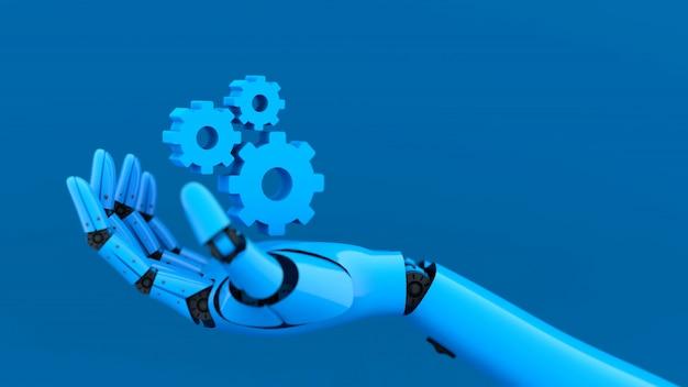 Синяя рука робота и зубчатое колесо Premium Фотографии
