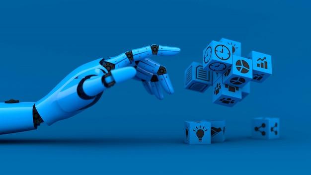 Голубая рука робота управляет кубами дела Premium Фотографии
