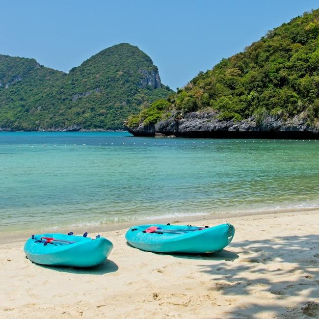 Barche a remi blu sulla spiaggia con il bellissimo mare sullo sfondo Foto Gratuite