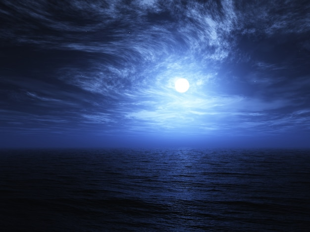 3dは、渦巻く雲と海の上の月のレンダリング 無料写真