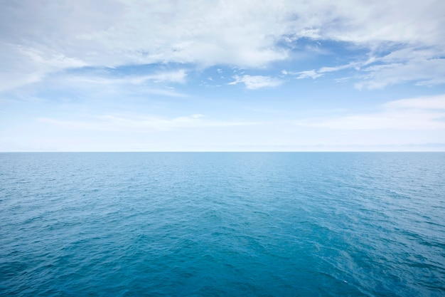 Blue sea view in a calm and quiet day waves soft surface, abstract background pattern texture Premium Photo