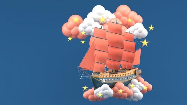 青い帆雲と青い星に浮かぶオレンジ色の帆。 3dレンダー Premium写真