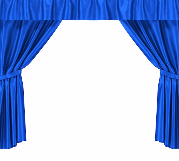 Blue silk curtains with garter isolated Premium Photo