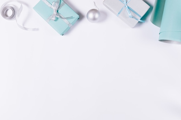 Blue and silvery christmas decorations Premium Photo