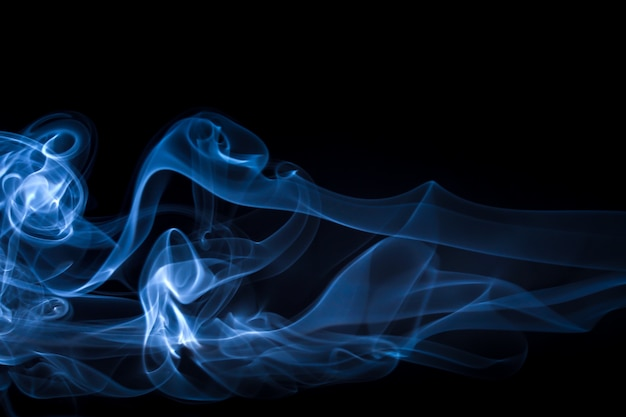 Blue smoke abstract on black, darkness concept Premium Photo