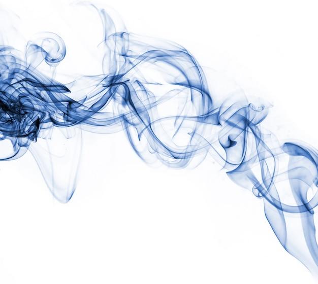 Blue smoke collection on white background Free Photo