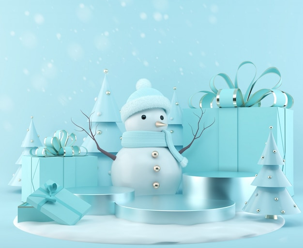 Blue snowman standing with gift box on christmas background, 3d rendering scene podium display with xmas tree. Premium Photo