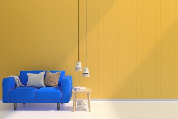 Blue Sofa Yellow Pastel Wall White Wood Floor Background Texture Shine Sun  Premium Photo