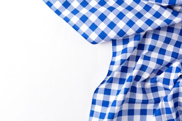 Blue table cloth texture on white background Premium Photo