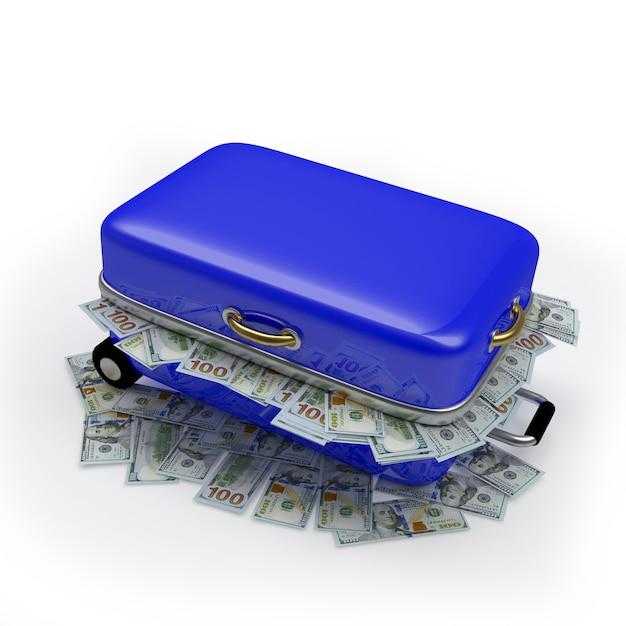 ドル札でいっぱいの青い旅行スーツケース Premium写真