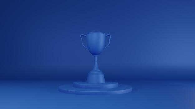 Blue trophy prize. 3d rendering. Premium Photo