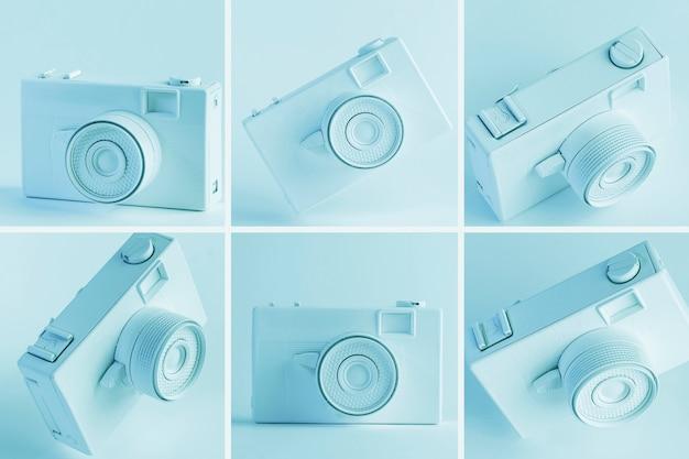 Blue vintage digital camera collage Free Photo