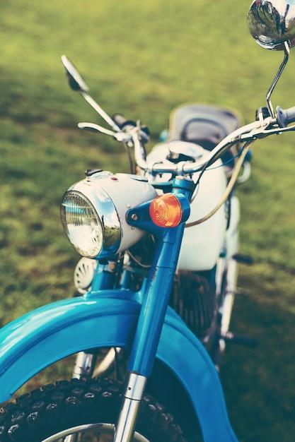 Blue vintage motorcycle Free Photo