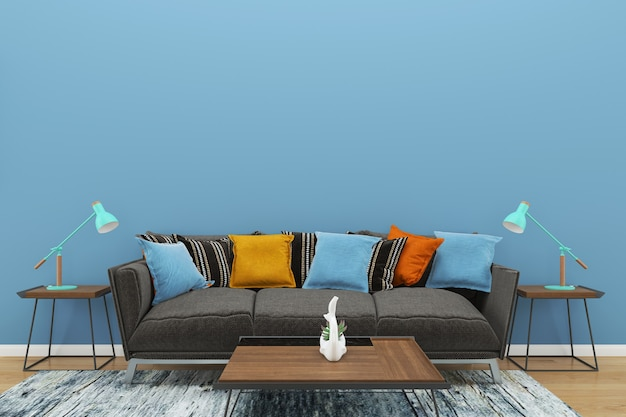Blue wall gray sofa copy space interior living room lamp wood floor ...