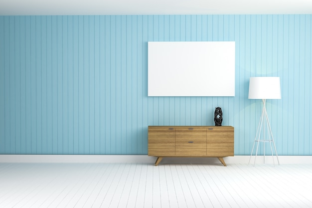 Blue wall with a brown furniture Free Photo