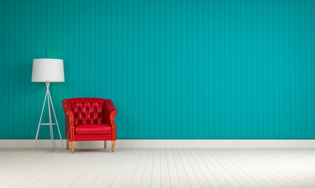 Blue Wall With A Red Sofa Photo Free Download