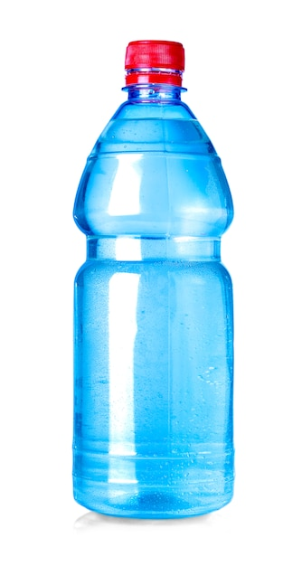 Blue water bottle isolated on white Premium Photo